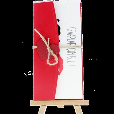 Açık Davetiye Zarfı - 21x10-Kırmızı- Kırmızı Kalpli