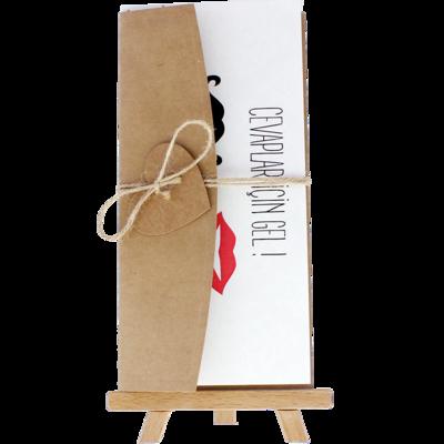 Açık Davetiye Zarfı - 21x10-Kraft - İpli, Kraft Kalpli zarf