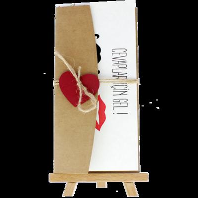 Açık Davetiye Zarfı - 21x10-Kraft- Kırmızı Kalpli zarf