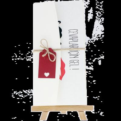 Açık Davetiye Zarfı - 21x10-Krem- İpli, Kırmızı Etiketli