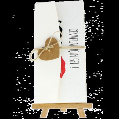 Açık Davetiye Zarfı - 21x10-Krem- İpli, Kraft Kalpli zarf