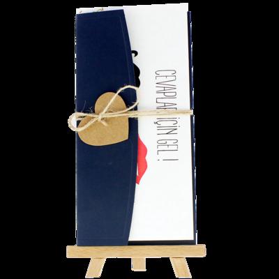 Açık Davetiye Zarfı - 21x10-Lacivert- İpli, Kraft Kalpli zarf