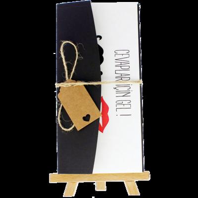 Açık Davetiye Zarfı - 21x10-Siyah - İpli, Kraft Etiketli zarf