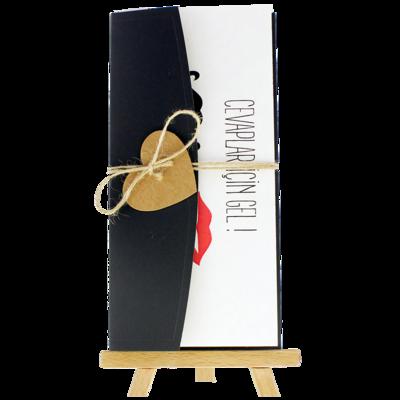 Açık Davetiye Zarfı - 21x10-Siyah - İpli, Kraft Kalpli