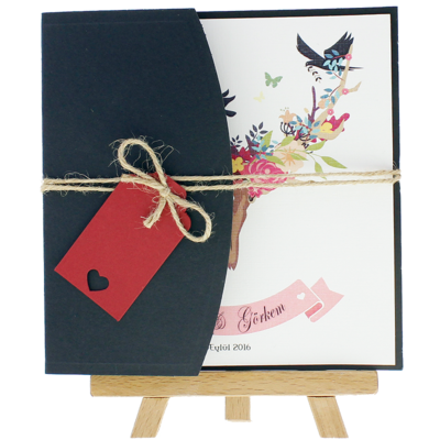 Açık Davetiye Zarfı - Kare-Lacivert- İpli, Kırmızı Etiketli