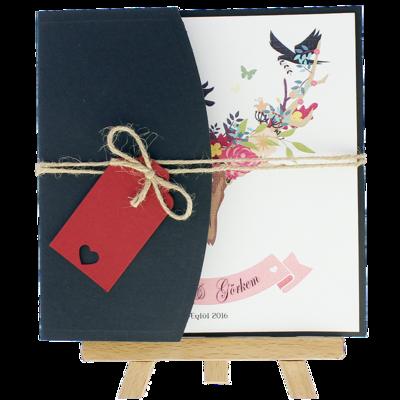 Açık Davetiye Zarfı - Kare-Siyah - İpli, Kırmızı Etiketli