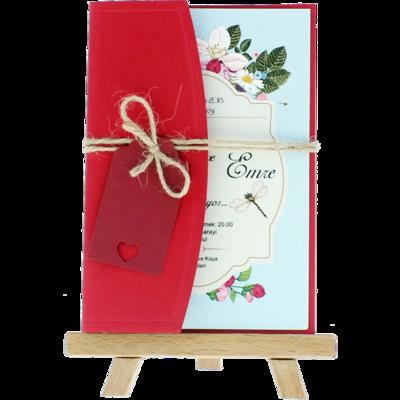 Açık Davetiye Zarfı - Kartpostal-Kırmızı- İpli, Kırmızı Etiketli