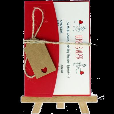 Açık Davetiye Zarfı - Kartpostal-Kırmızı- İpli, Kraft Etiketli