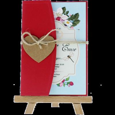 Açık Davetiye Zarfı - Kartpostal-Kırmızı- İpli, Kraft Kalpli