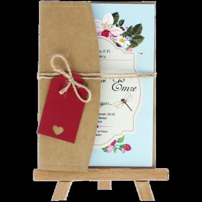 Açık Davetiye Zarfı - Kartpostal-Kraft - İpli, Kırmızı Etiketli