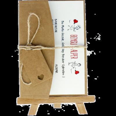 Açık Davetiye Zarfı - Kartpostal-Kraft - İpli, Kraft Etiketli