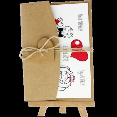 Açık Davetiye Zarfı - Kartpostal-Kraft - İpli, Kraft Kalpli