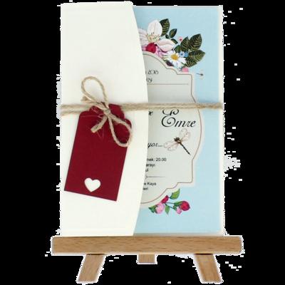 Açık Davetiye Zarfı - Kartpostal-Krem- İpli, Kırmızı Etiketli