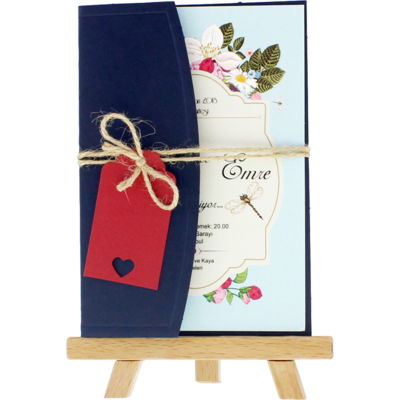 Açık Davetiye Zarfı - Kartpostal-Lacivert- İpli, Kırmızı Etiketli