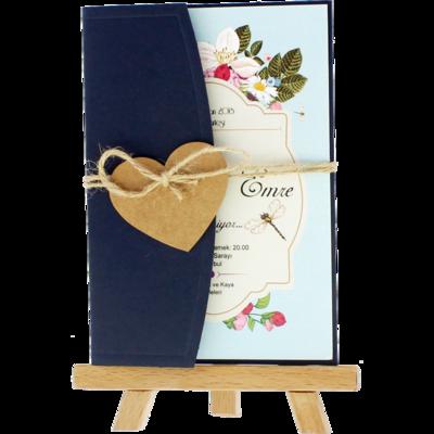 Açık Davetiye Zarfı - Kartpostal-Lacivert- İpli, Kraft Kalpli