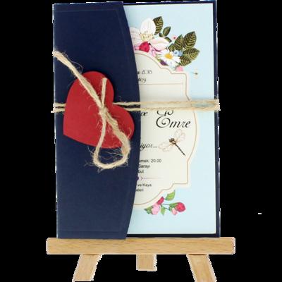 Açık Davetiye Zarfı - Kartpostal-Lacivert- Kırmızı Kalpli