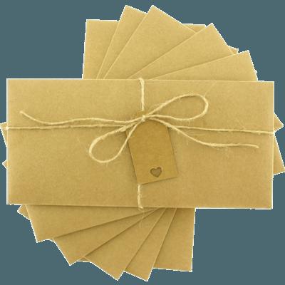 Kraft Dikdörtgen Düğün Davetiye Zarfı
