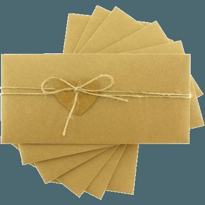 Kraft Dikdörtgen Düğün Davetiye Zarfları