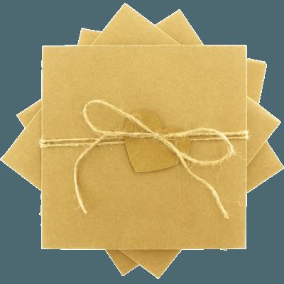 Kraft Kalpli Düğün Davetiye Zarfları